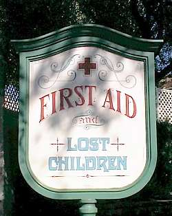 Disneyland's first aid sign