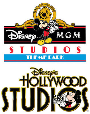 The old Disney-MGM Studios logo and the new Disney's Hollywood Studios logo.